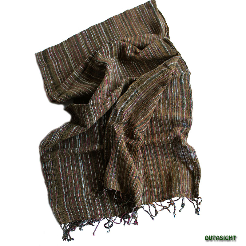 コットンスカーフ 手紡ぎ 手織 縞模様 タイ TNTS-19