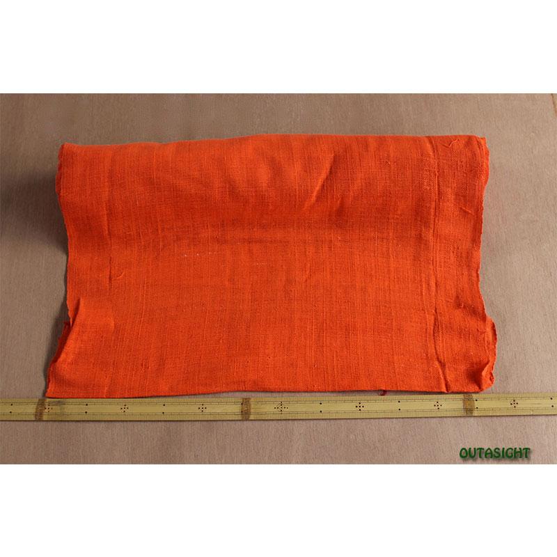 タイ コットン(木綿)反物生地 手紡ぎ 手織 赤橙(あかだいだい)色 TNT-19