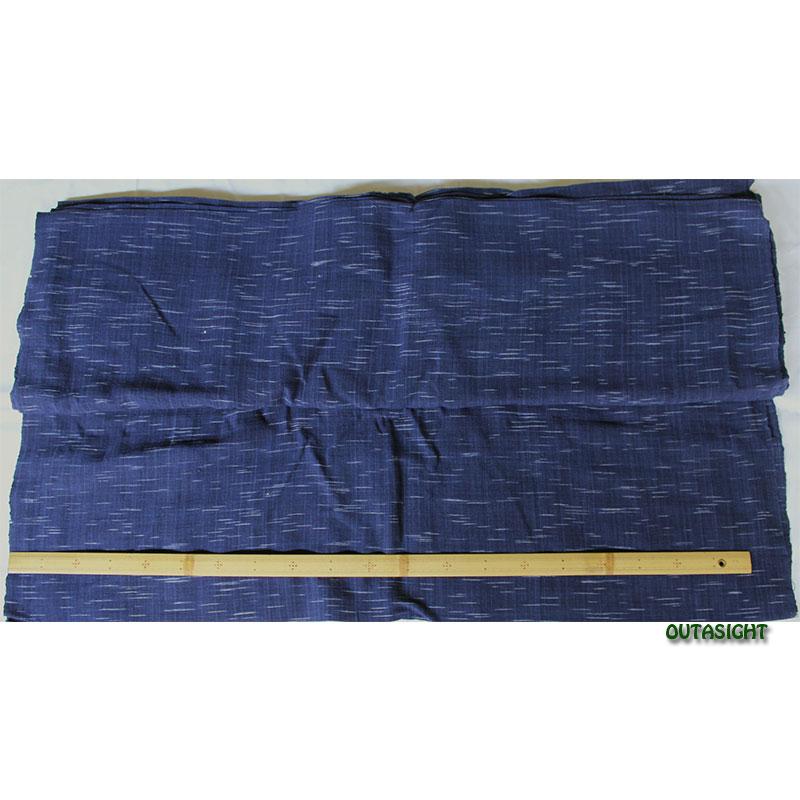 コットン(木綿)反物生地 手紡ぎ 手織 濃藍(こいあい)色 かすり タイ TMR-04