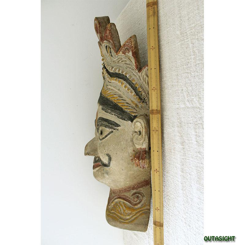 木彫りマスク(お面) マハラジャ アンティーク ネパール NAM-10