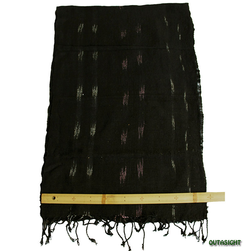コットンスカーフ 手紡ぎ 手織 黒+白・桃花色絣(かすり) タイ TNTS-23
