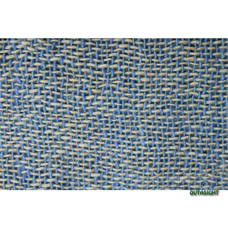 コットンスカーフ 手紡ぎ 手織 青色+生成り色 タイ TNTS-25