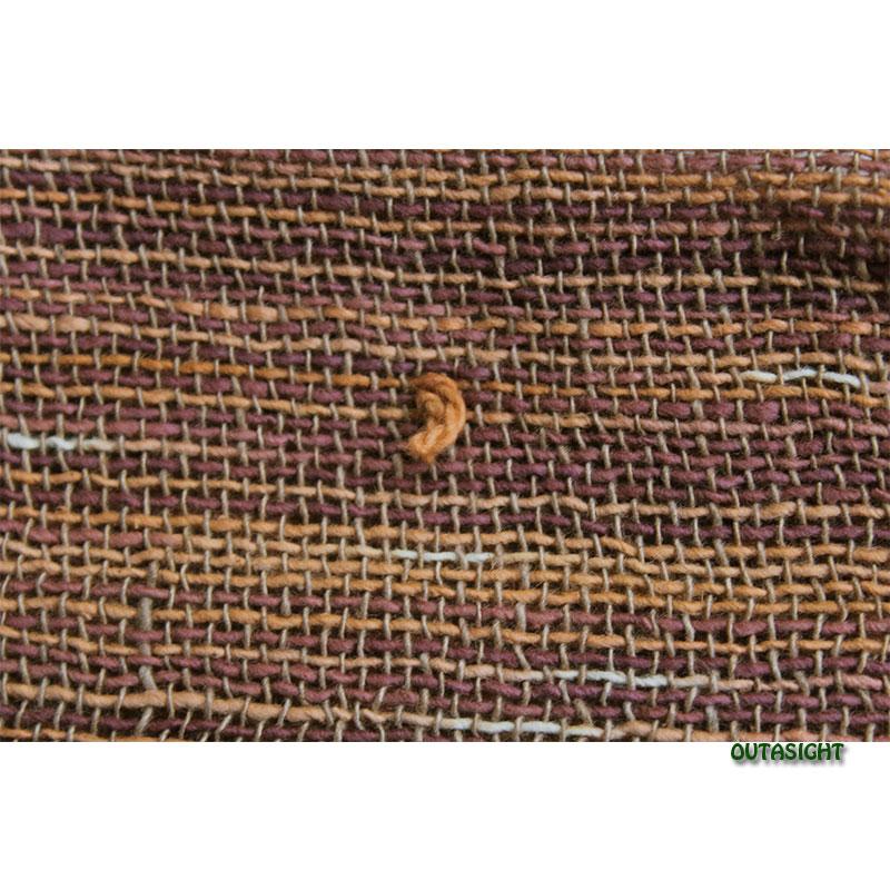 コットンスカーフ 手紡ぎ 手織 絣(かすり)入縞模様 タイ TNTS-26