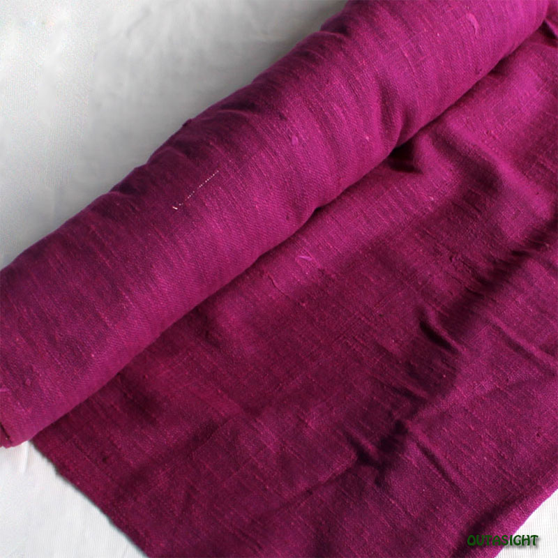 タイ コットン(木綿)反物生地 手紡ぎ 手織 紅紫色 TNT-28
