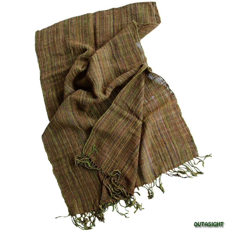 コットンスカーフ 手紡ぎ 手織 縞模様 タイ TNTS-28
