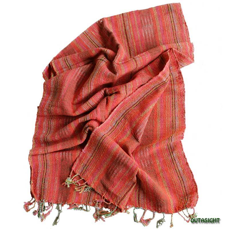 コットンスカーフ 手紡ぎ 手織 紅赤絣(かすり)入り縞模様 タイ TNTS-29