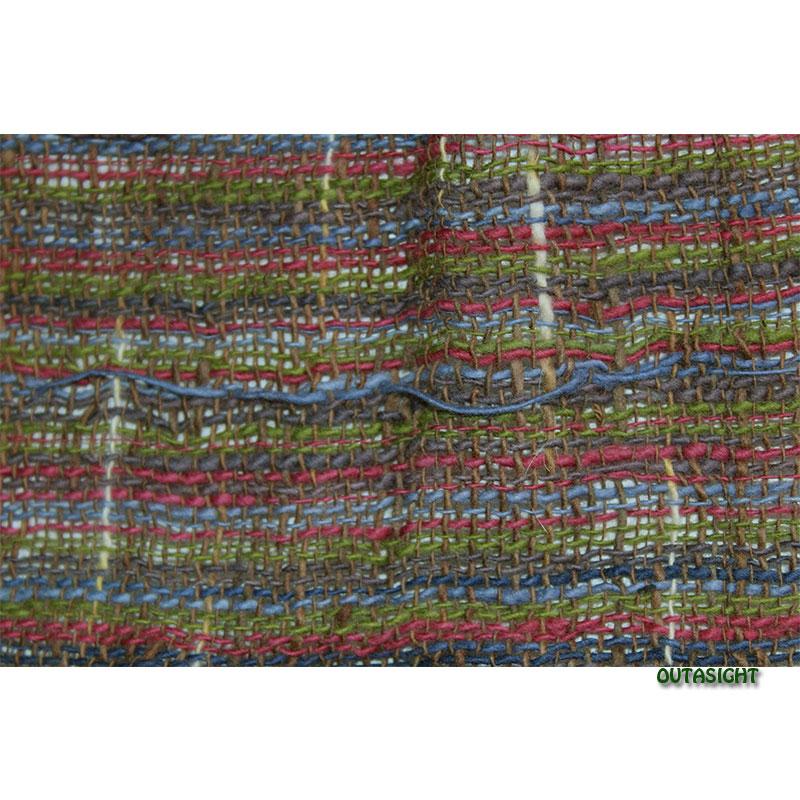 コットンスカーフ 手紡ぎ 手織 青+茶系縞模様 タイ TNTS-30