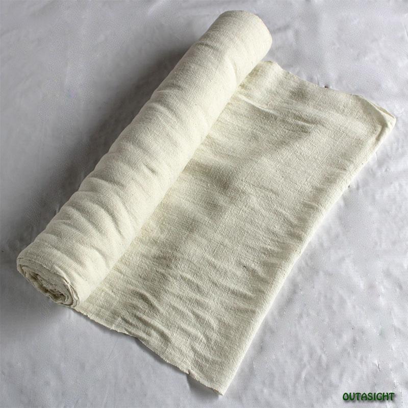 タイ コットン(木綿)反物生地 手紡ぎ 手織 白色A TNT-33