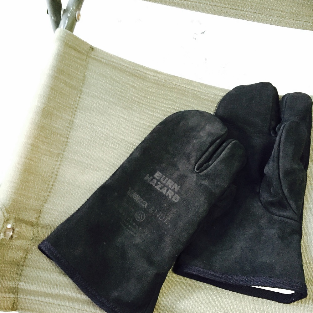 &NUT LEATHER CAMP GLOVES(BLK /YEL)
