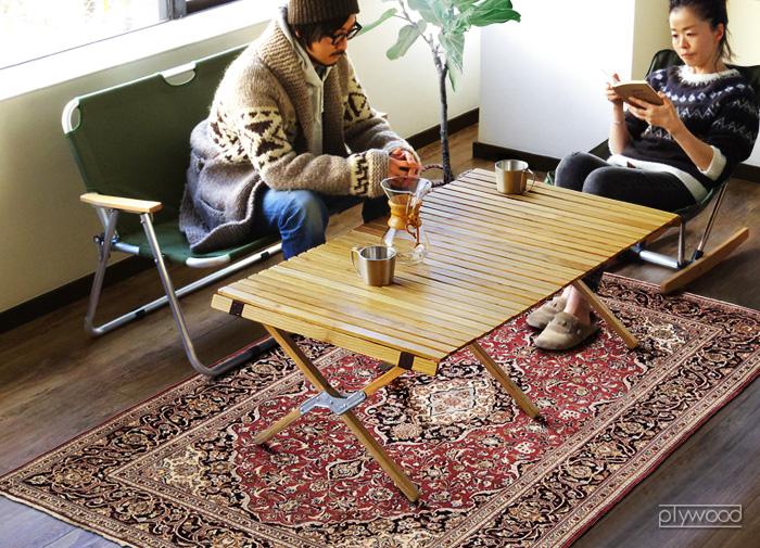 OUTPUTLIFE ウッドロールトップテーブル Lサイズ (シルバー)