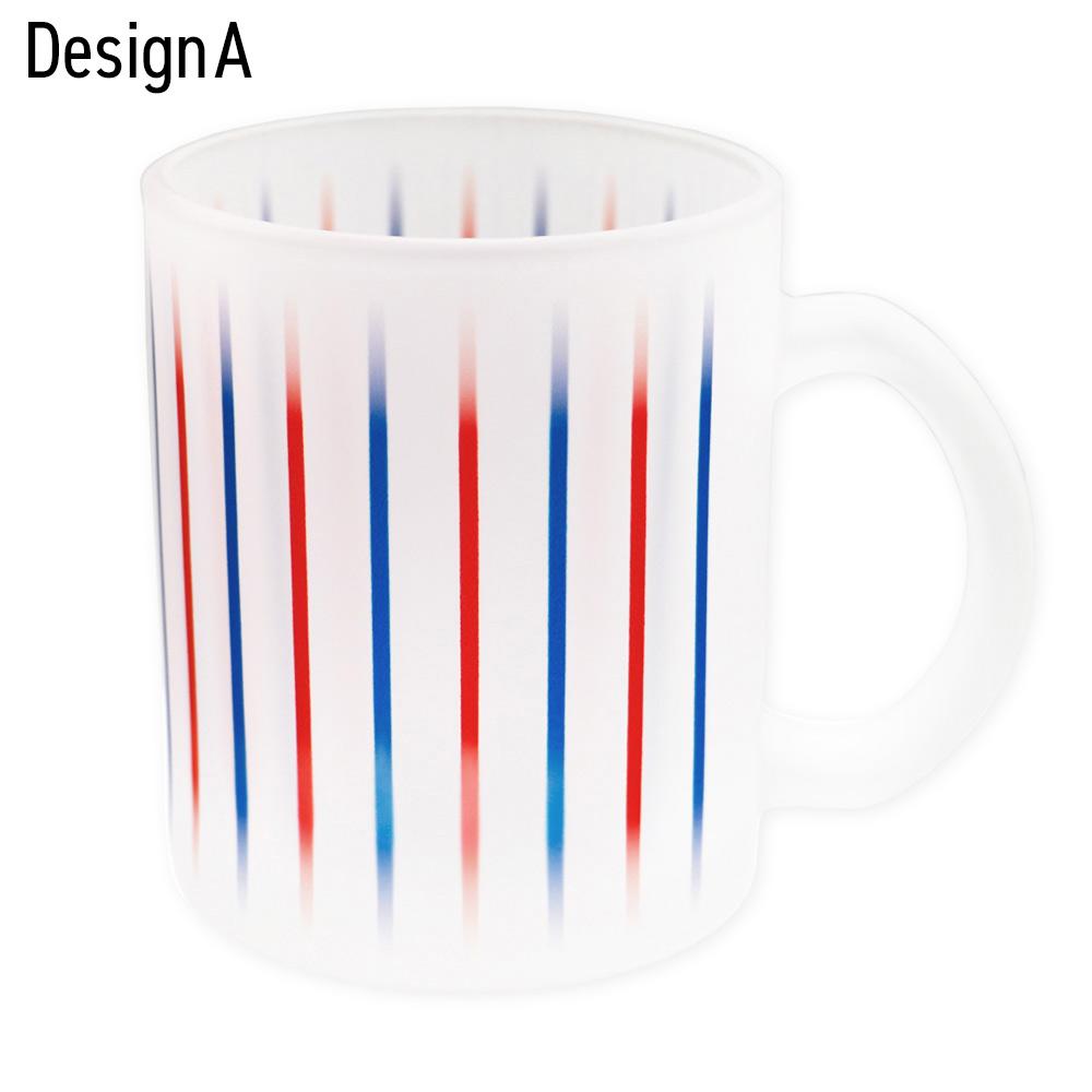 トリコロールデザイン ガラスマグカップ(OPR-10013007)宅C