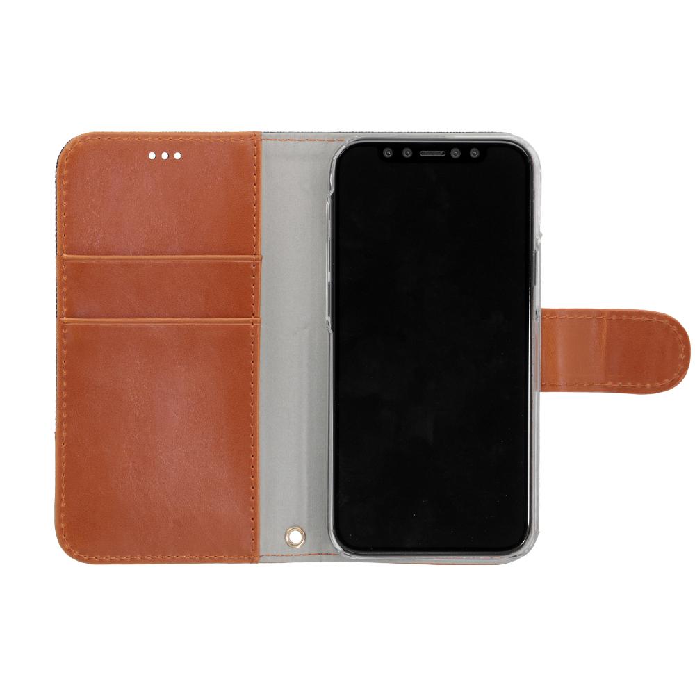 iPhone 12 mini (5.4インチ) 用 デニム×PUレザー 手帳型ケース インディゴブルー × キャメル(OWL-CVIC5412-IDCA) 宅C