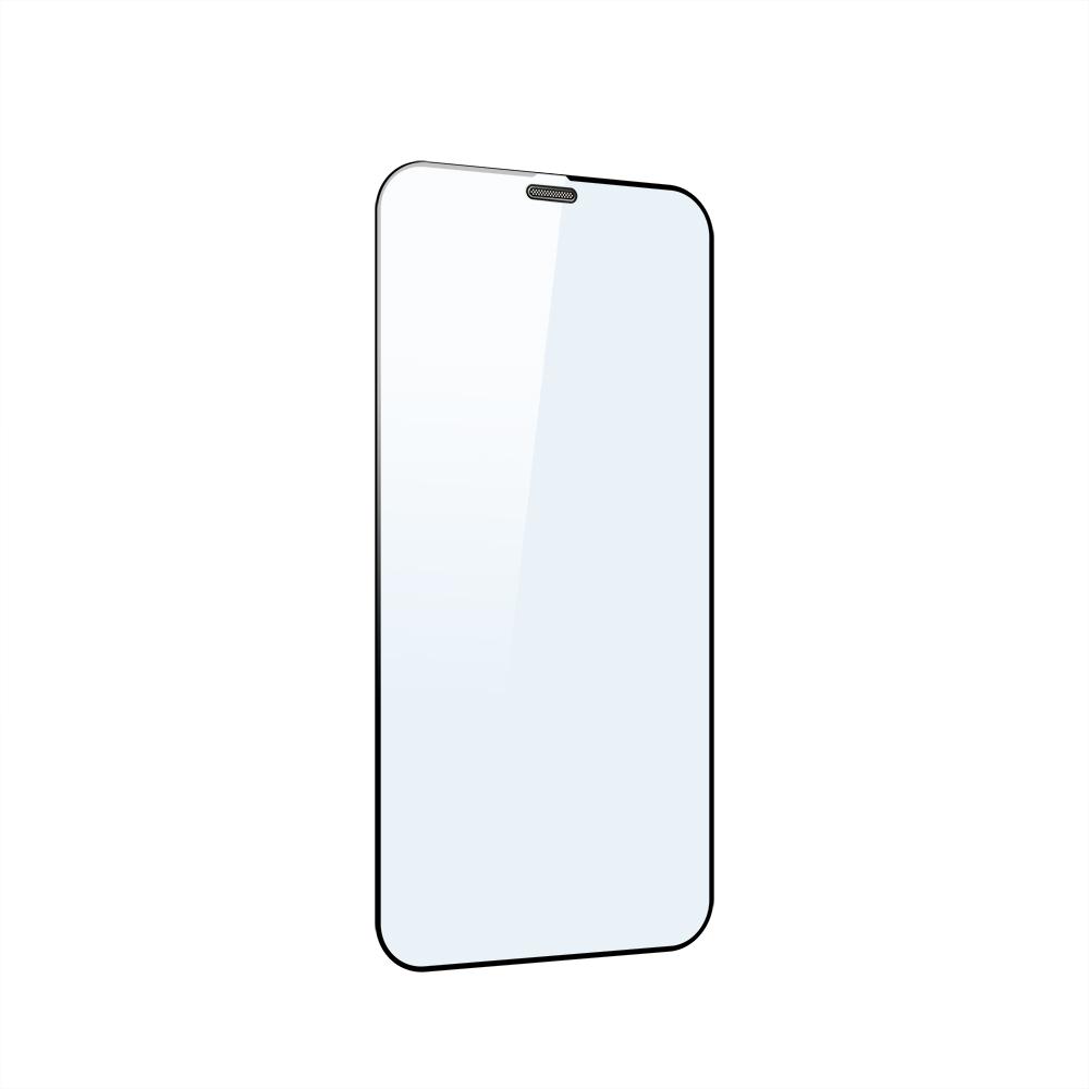 iPhone 12 mini (5.4インチ) 用 貼りミスゼロ かんたん3ステップ貼り付けキット付き 全面保護 強化ガラス 光沢ブルーライトカット(OWL-GSIC54F-BC) 宅C
