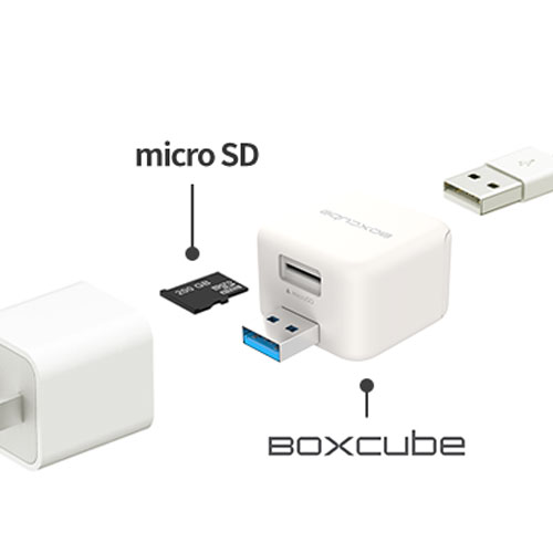 BoxCube 充電しながら簡単データ保存 自動バックアップ機能付きカードリーダー(OWL-CRJU2)