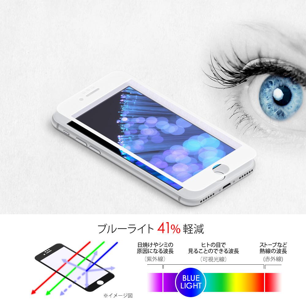 iPhone 8/7/6s/6対応 耐衝撃 全面保護 強化ガラス 液晶ブルーライトカット+反射を抑えるアンチグレア(OWL-GTIP7SF-AB)