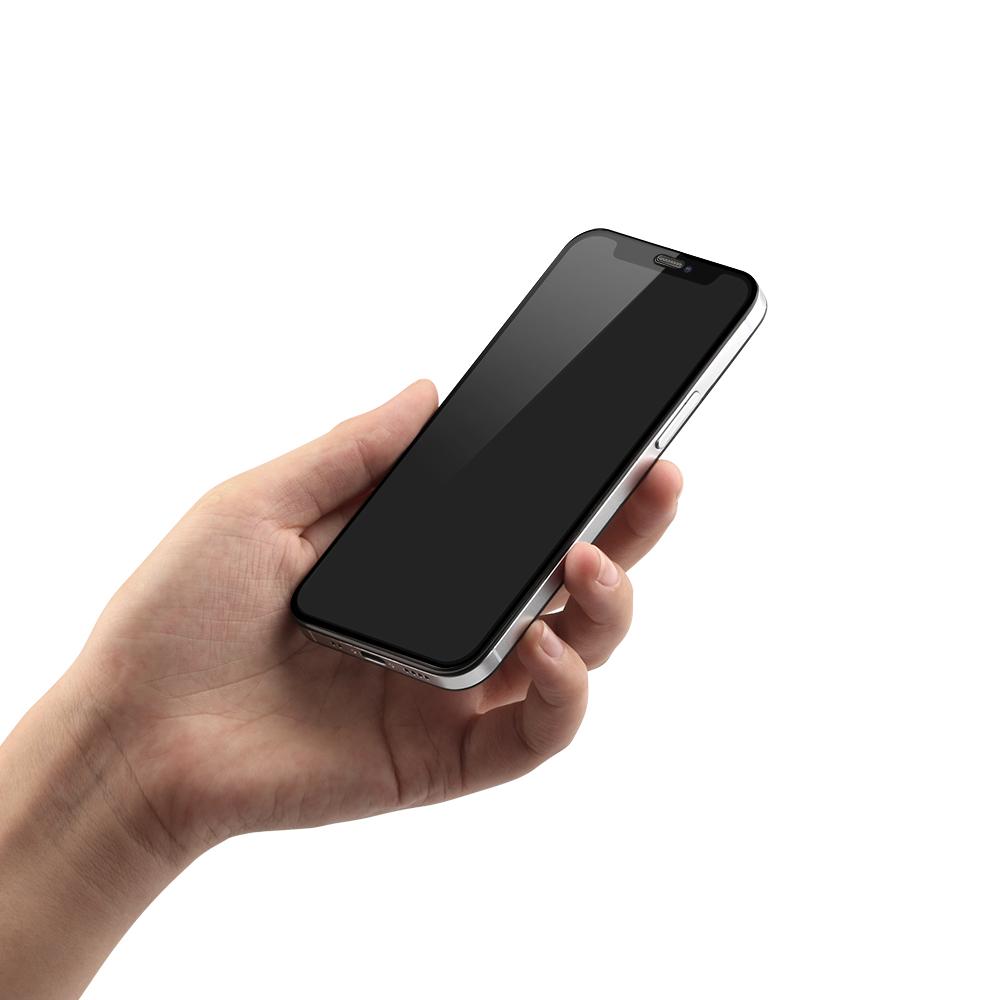 iPhone 12 mini (5.4インチ) 用 貼りミスゼロ かんたん3ステップ貼り付けキット付き 全面保護 強化ガラス のぞき見防止(OWL-GSIC54F-PS) 宅C