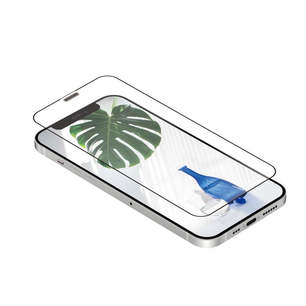 iPhone 12 mini (5.4インチ) 用 貼りミスゼロ かんたん3ステップ貼り付けキット付き 耐衝撃 トリプルストロング 全面保護 強化ガラス 光沢(OWL-GUIC54F-CL) 宅C
