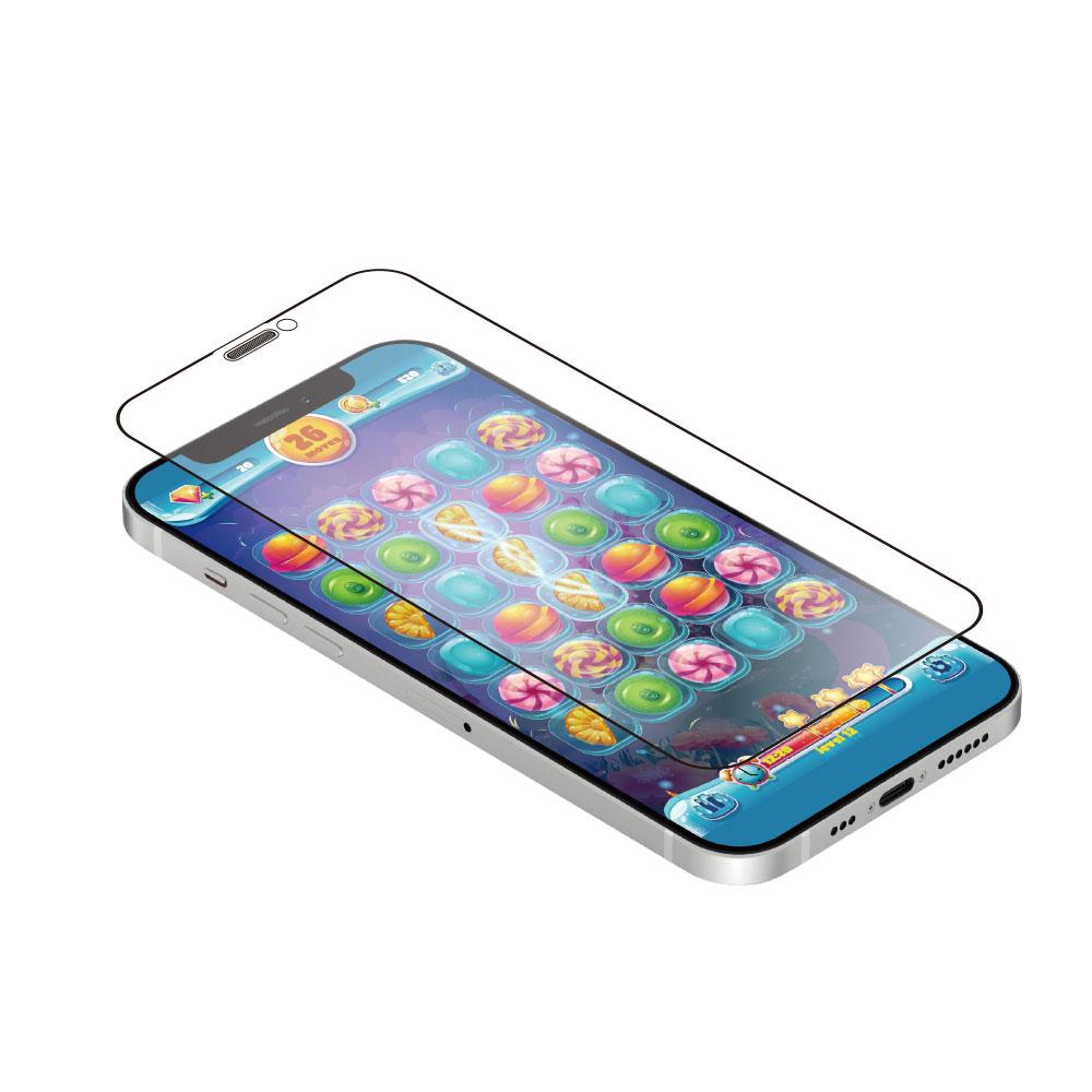 iPhone 12 mini (5.4インチ) 用 貼りミスゼロ かんたん3ステップ貼り付けキット付き 耐衝撃 トリプルストロング 全面保護 強化ガラス マット(OWL-GUIC54F-AG) 宅C