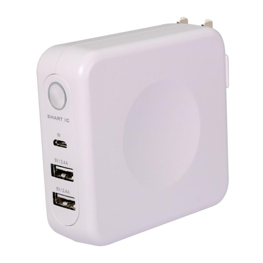AC充電器+モバイルバッテリー USBポート2個付き 6700mAh(OWL-LPBAC6701)宅C