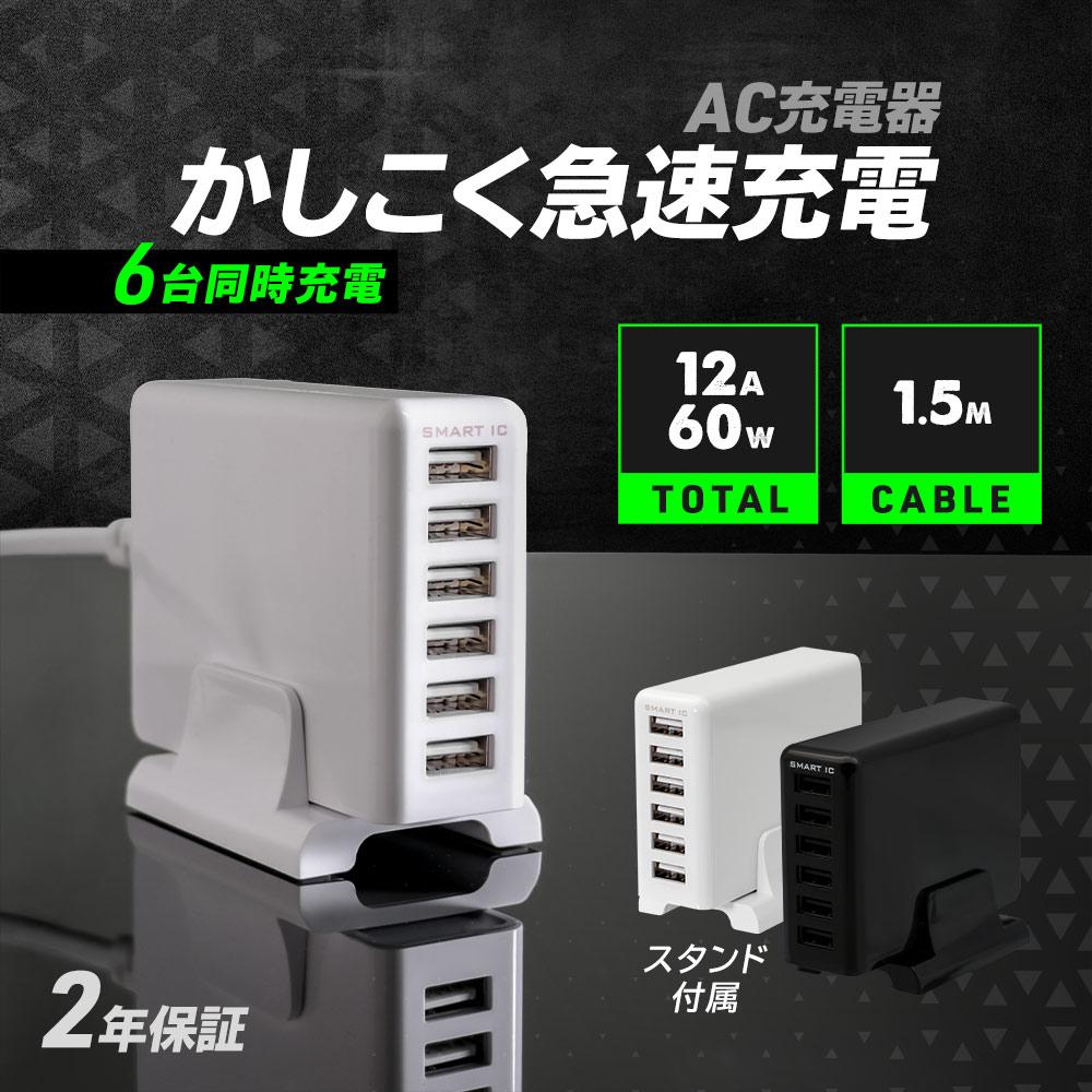 6ポートAC充電器 60W 合計出力12A(OWL-ACU6S60W)宅C