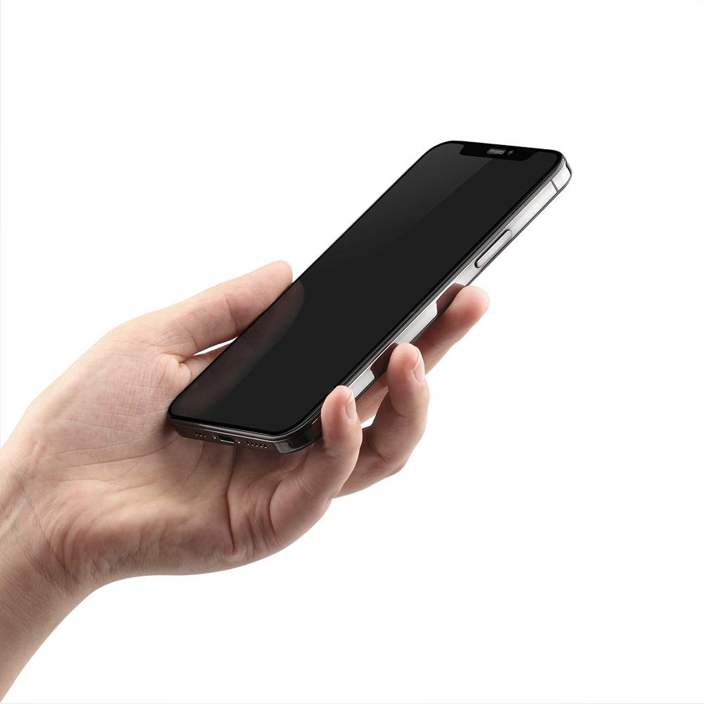 iPhone12/12Pro対応 (6.1インチ) 用 貼りミスゼロ かんたん3ステップ貼り付けキット付き 全面保護 強化ガラス マット(OWL-GSIC61F-AG) 宅C
