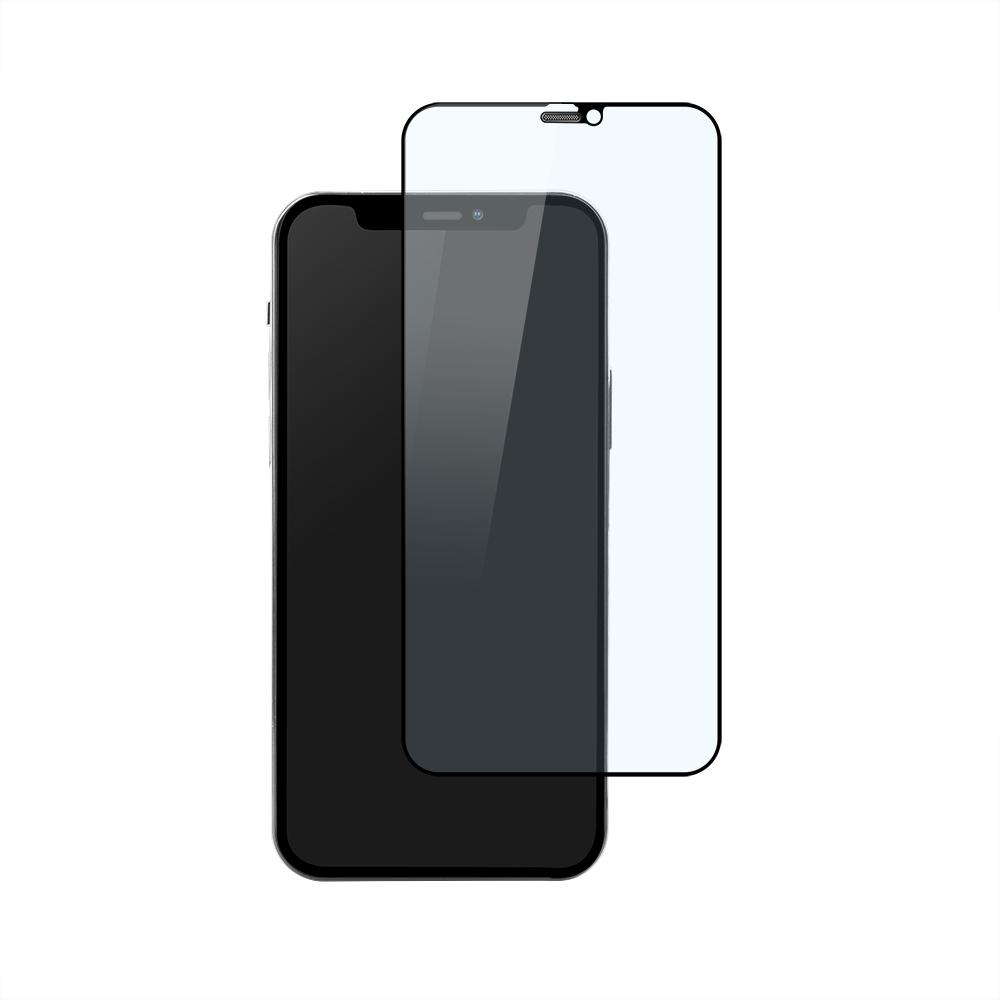 iPhone12/12Pro対応 (6.1インチ) 用 貼りミスゼロ かんたん3ステップ貼り付けキット付き 全面保護 強化ガラス 光沢ブルーライトカット(OWL-GSIC61F-BC) 宅C
