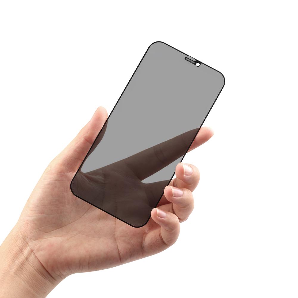 iPhone12/12Pro対応 (6.1インチ) 用 貼りミスゼロ かんたん3ステップ貼り付けキット付き 全面保護 強化ガラス のぞき見防止(OWL-GSIC61F-PS) 宅C
