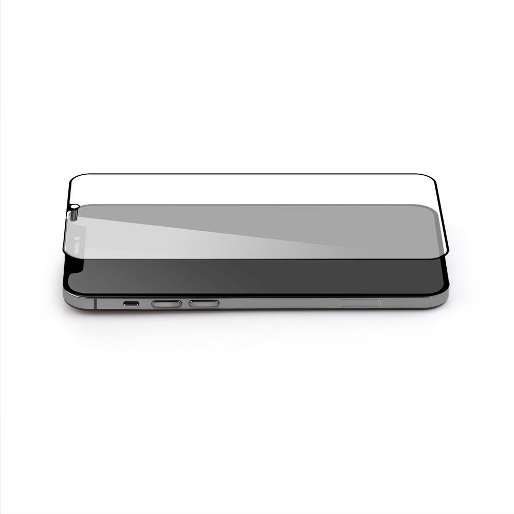 iPhone12/12Pro対応 (6.1インチ) 用 貼りミスゼロ かんたん3ステップ貼り付けキット付き 全面保護 強化ガラス 抗菌(OWL-GSIC61F-AN) 宅C