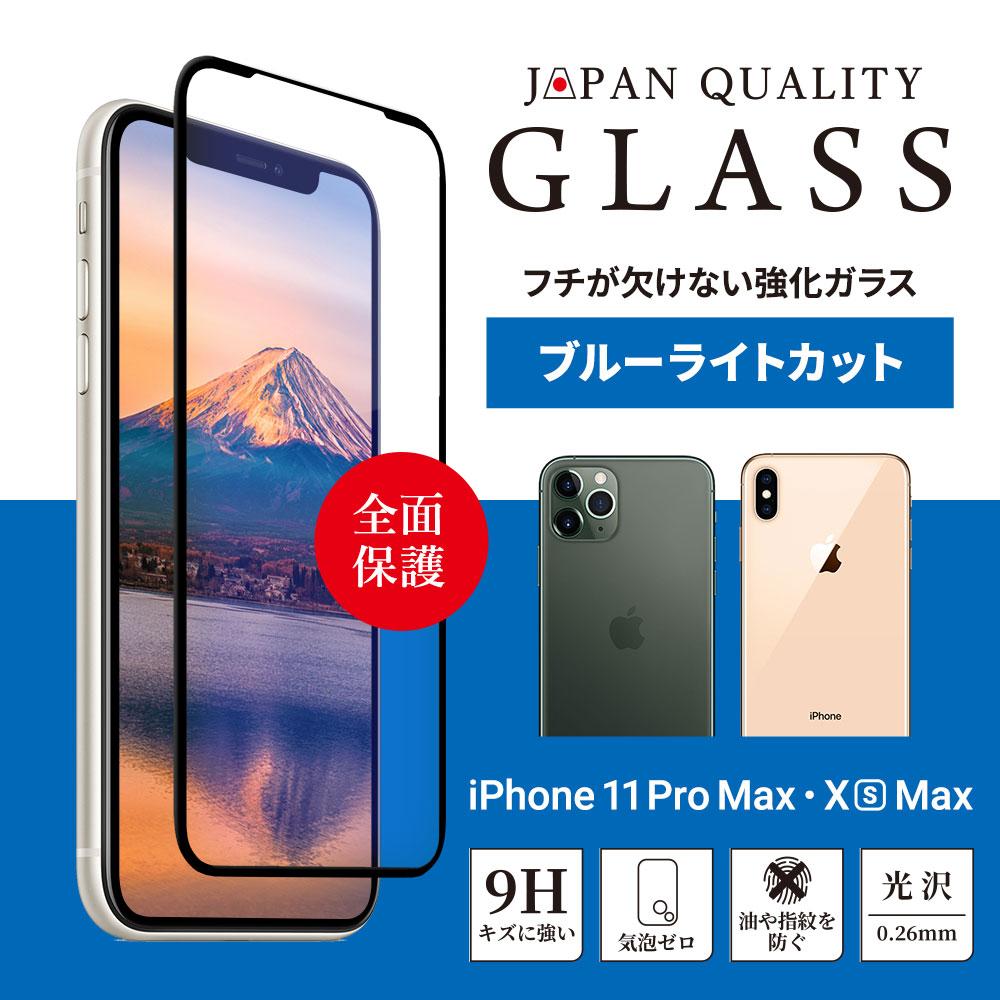 iPhone 11 Pro Max/XsMax対応 (6.5インチ) 光沢 ブルーライトカット フチが欠けない全面保護ガラス(OWL-GPIB65F-BBC)宅C
