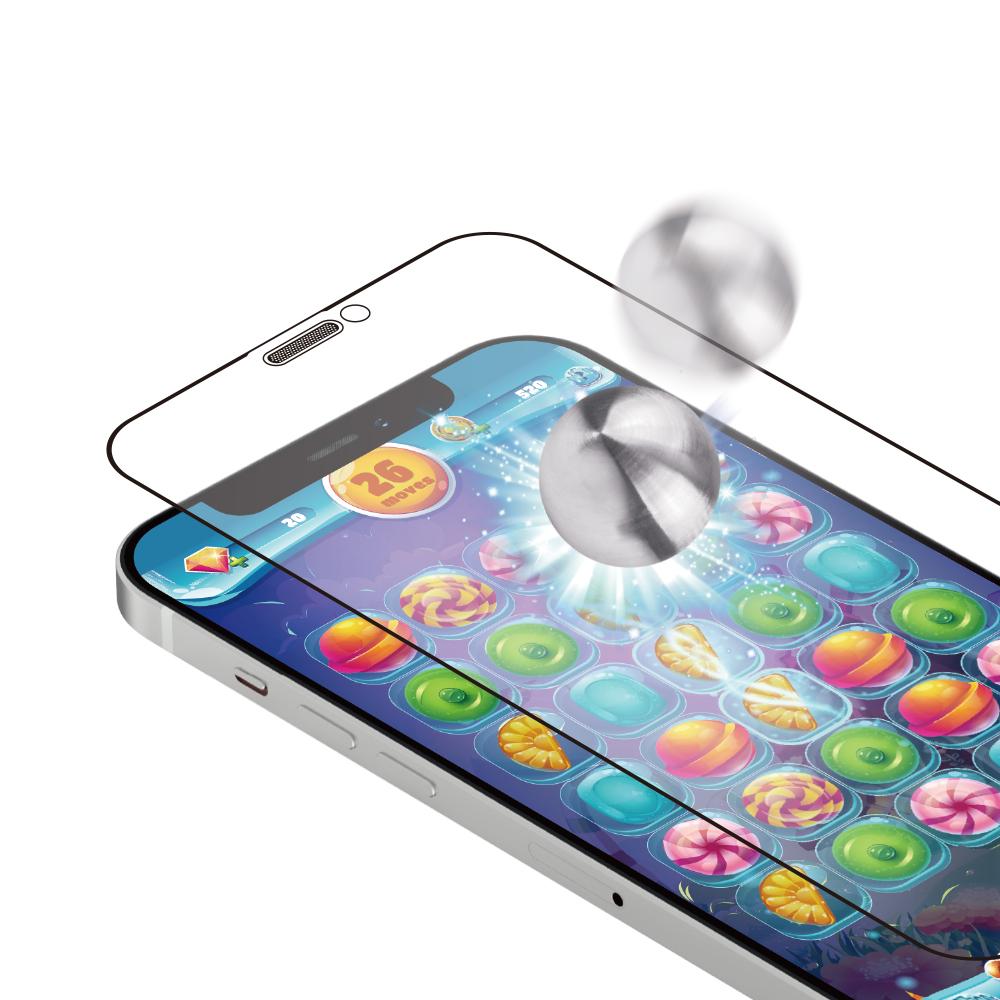 iPhone12/12Pro対応 (6.1インチ) 用 貼りミスゼロ かんたん3ステップ貼り付けキット付き 耐衝撃 トリプルストロング 全面保護 強化ガラス マット(OWL-GUIC61F-AG) 宅C