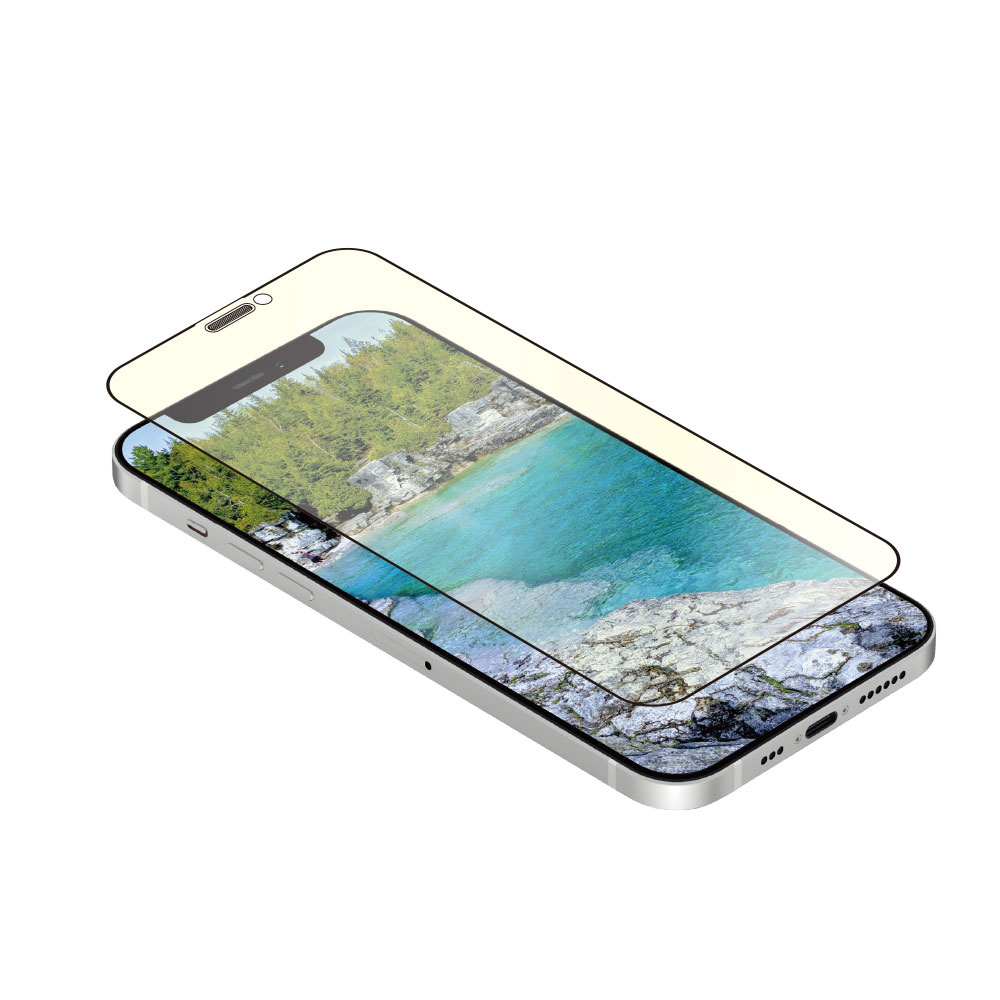 iPhone12/12Pro対応 (6.1インチ) 用 貼りミスゼロ かんたん3ステップ貼り付けキット付き 耐衝撃 トリプルストロング 全面保護 強化ガラス 光沢ブルーライトカット(OWL-GUIC61F-BC) 宅C