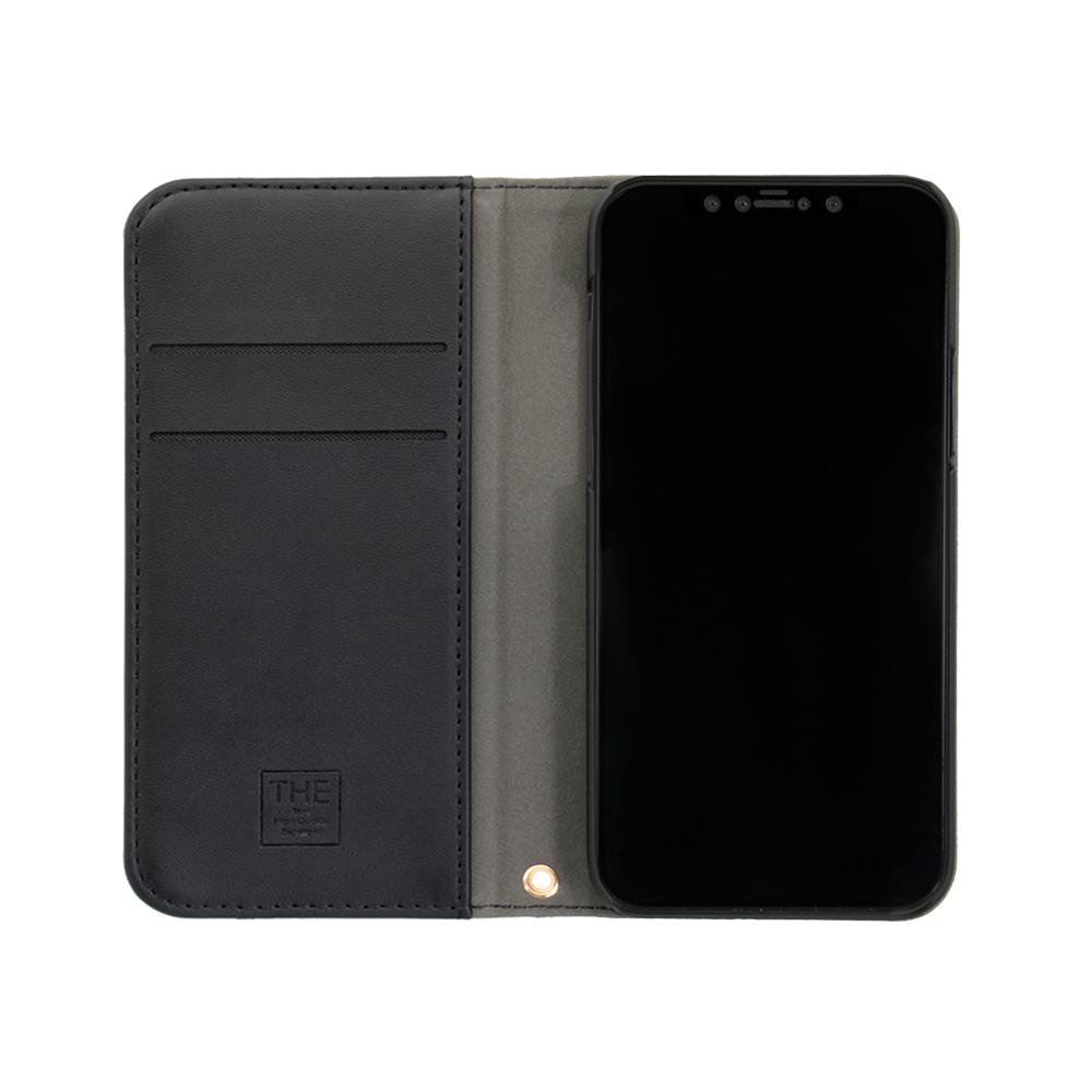 iPhone12/12Pro対応 (6.1インチ) 用 ファブリック × PUレザー 手帳型ケース(OWL-CVIC6103) 宅C