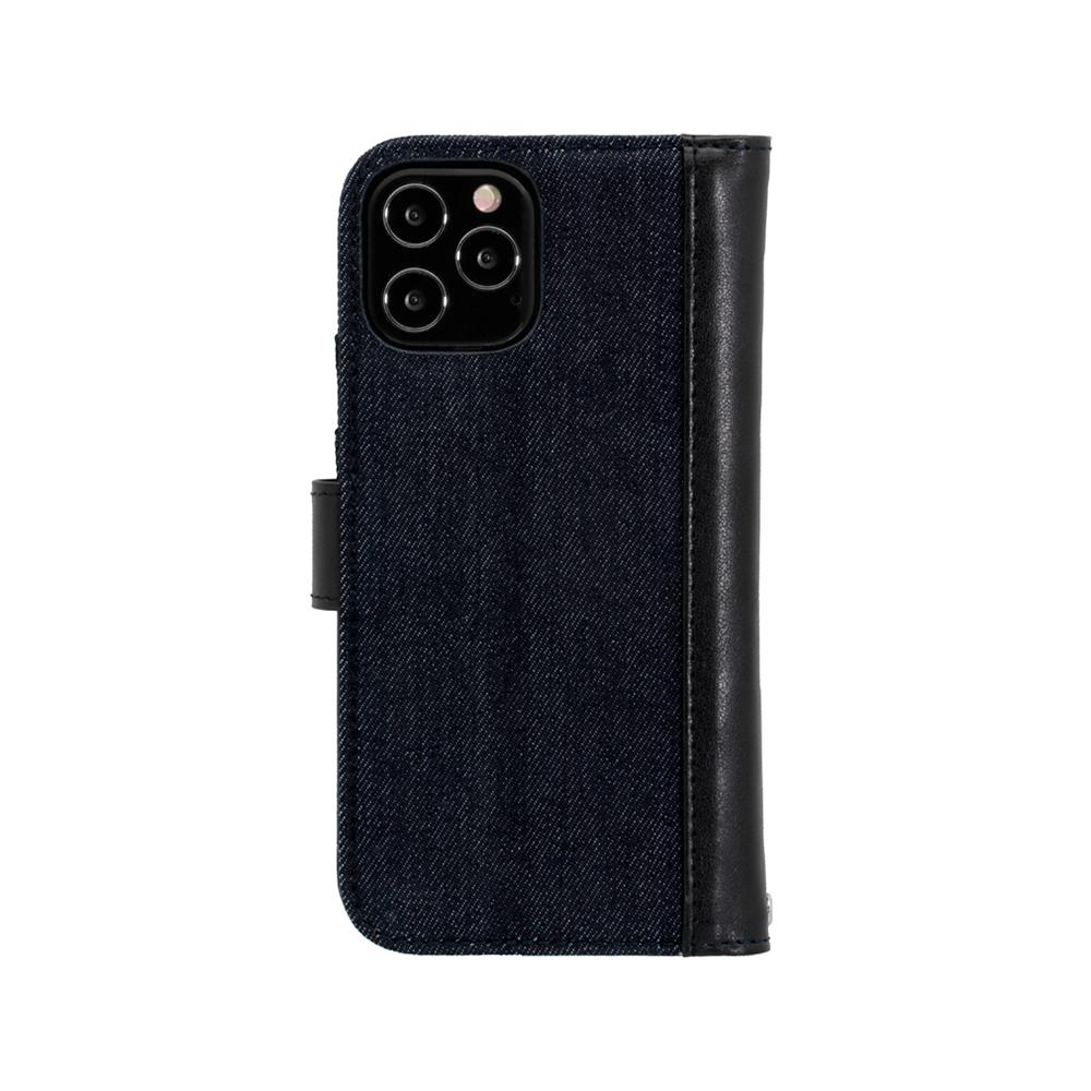 iPhone12Max/12Pro対応 (6.1インチ) 用 デニム×PUレザー 手帳型ケース インディゴブルー×ブラック(OWL-CVIC6113-IDBK) 宅C