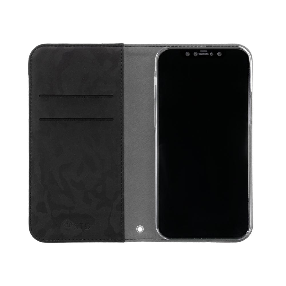 iPhone12/12Pro対応 (6.1インチ) 用 落ち着きのある迷彩柄のシンプルなデザイン PUレザー 手帳型ケース (OWL-CVIC6114) 宅C