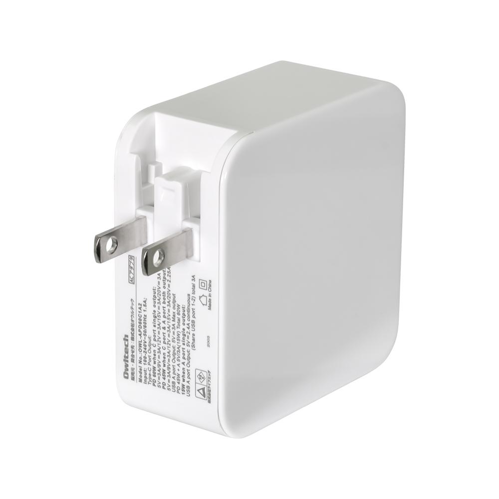3ポートAC充電器 PD 60W Type-C×1+USB Type-A×2 合計60W(OWL-APD60C1A2)
