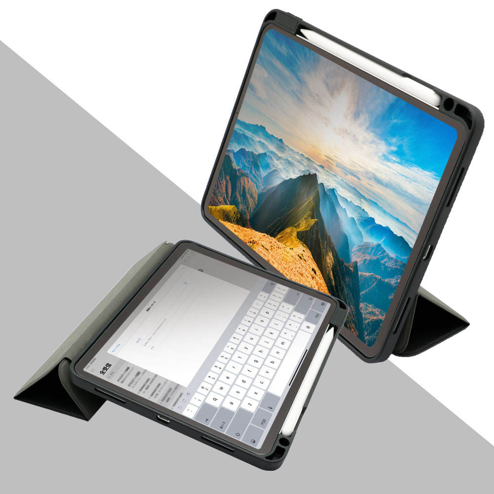 Apple Pencilを収納しながら充電できるホルダー付きケース iPad Air 10.9inch対応(OWL-CVIC10901)
