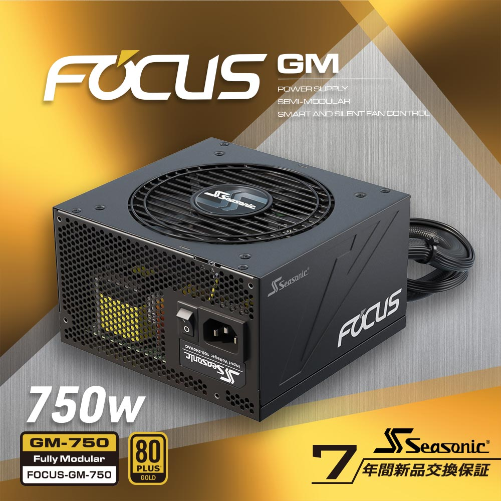 Seasonic 80PLUS GOLD認証取得 ATX電源 FOCUS GM 750W(FOCUS-GM-750)