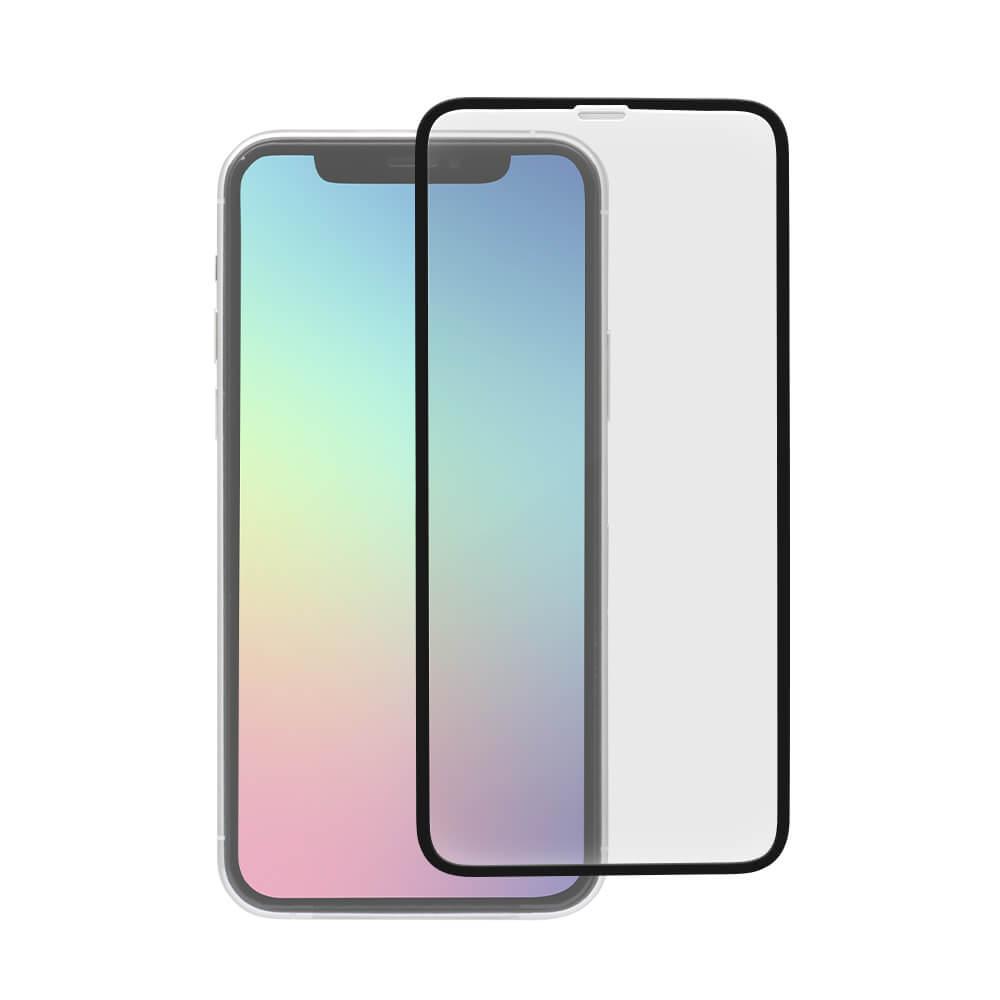 iPhone 11 /XR対応 フチが欠けない全面保護ガラス クリア ブラック(OWL-GPIB61F-BCL)宅C