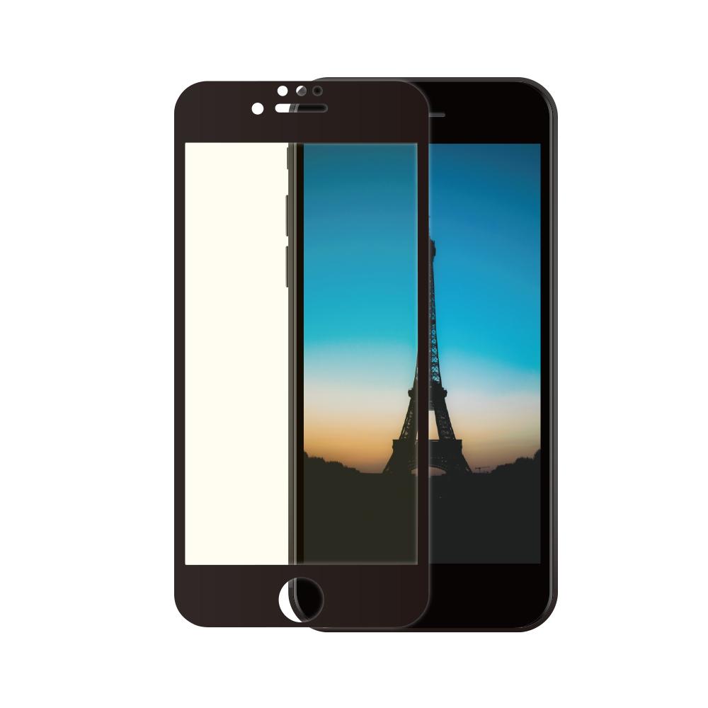 耐衝撃 全面保護 強化ガラス iPhone SE (第2世代)/8/7/6s/6対応 光沢・ブルーライトカットタイプ(OWL-GUIC47F-BC)