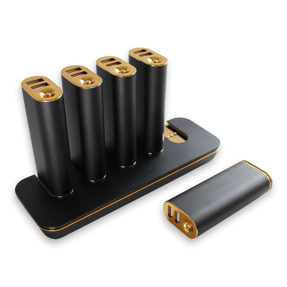 ステーション型モバイルバッテリー 5000mAh × 5個 + 充電ACフルセット (OWL-LPB50SET)
