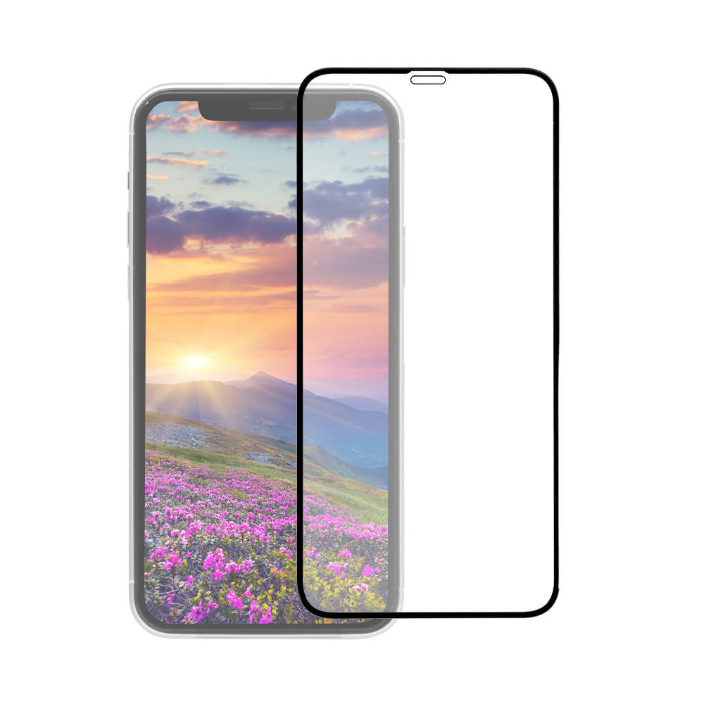 iPhone 11 /XR対応 トリプルストロング耐衝撃ガラス 全面保護 クリア ブラック(OWL-GUIB61F-BCL)宅C