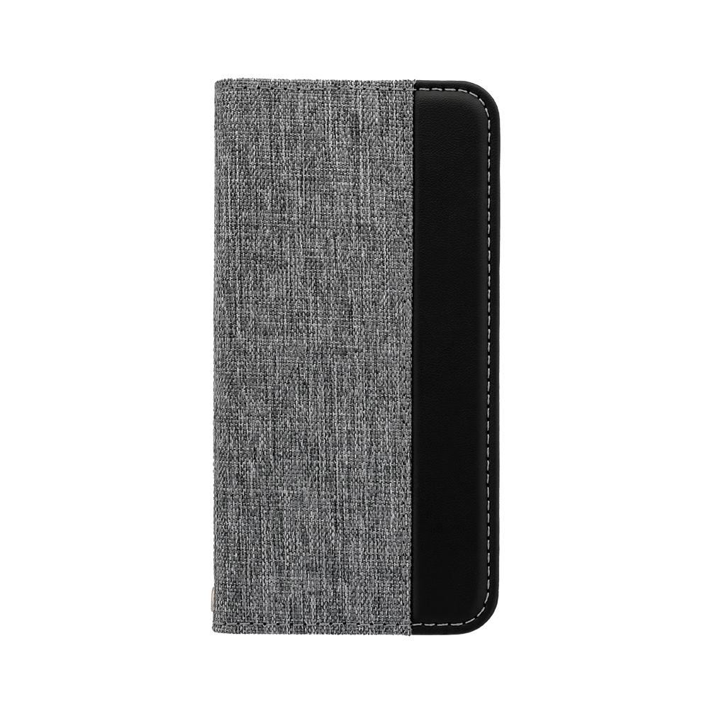 ファブリック素材にPUレザーを縦にあしらったデザイン ファブリック×PUレザー 手帳型ケース iPhoneSE(第2世代)/8/7/6s対応(OWL-CVIC4703)