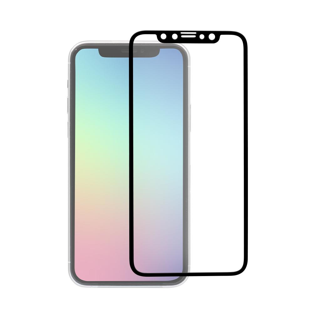 iPhone 11 Pro/Xs/X対応 フチが欠けない 全面保護強化ガラス アンチグレア ブラック(OWL-GPIB58F-BAG)宅C