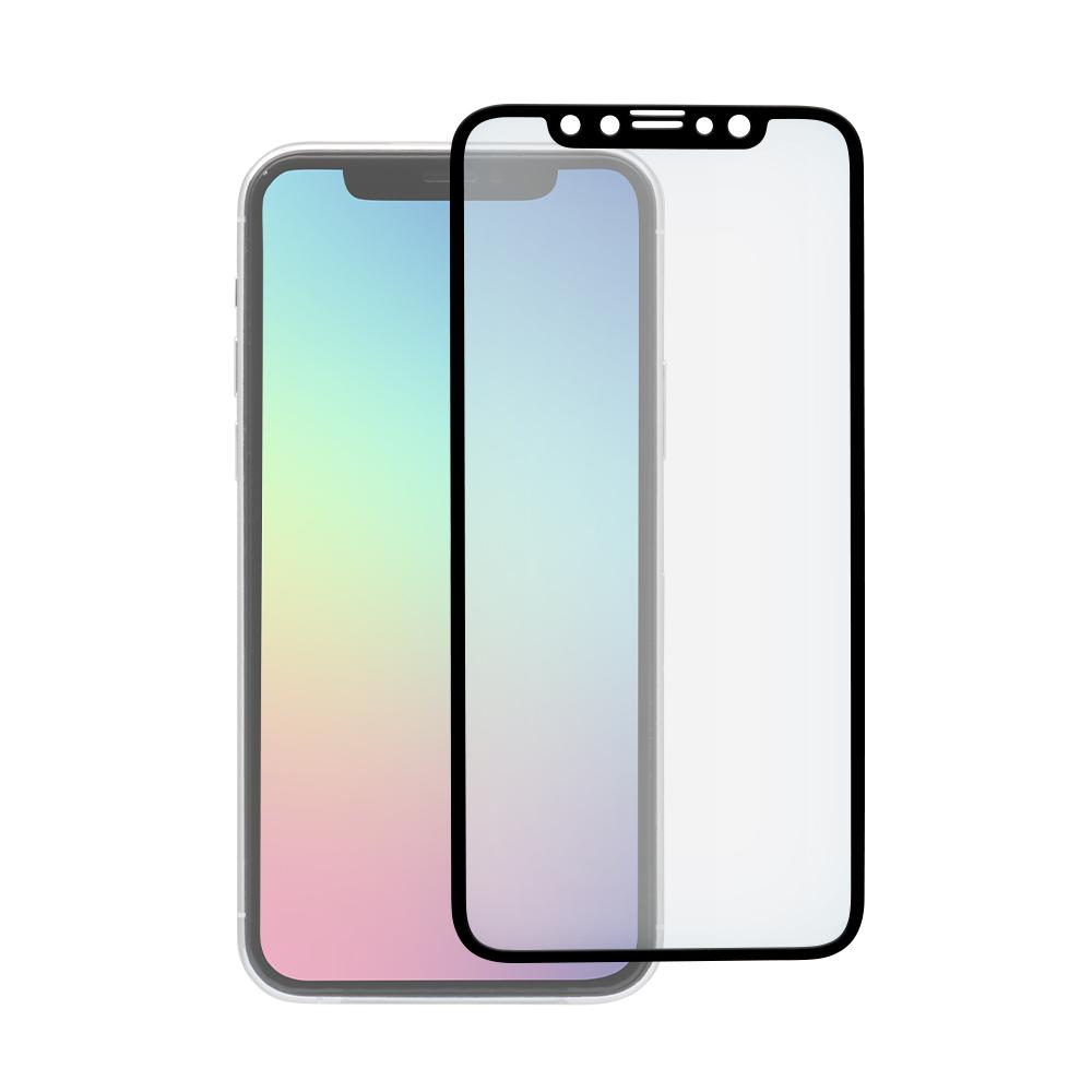 iPhone 11 Pro/Xs/X対応 フチが欠けない 全面保護強化ガラス アンチグレア&ブルーライトカット ブラック(OWL-GPIB58F-BAB)宅C