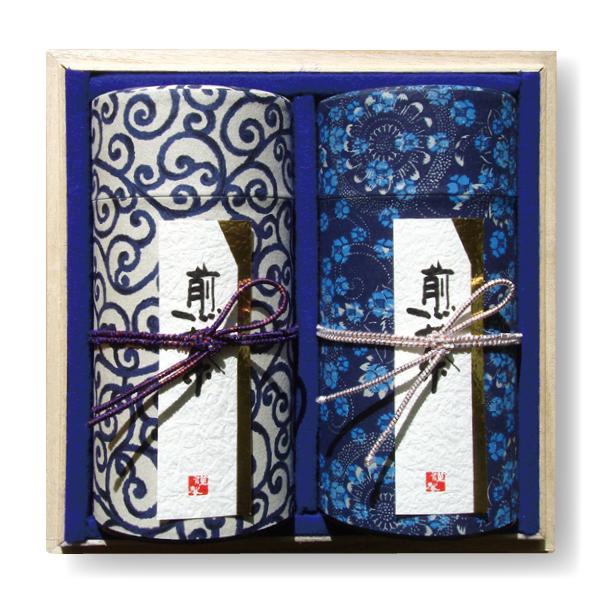 【ギフト】藍染缶 静岡煎茶2種詰合せ(各150g)