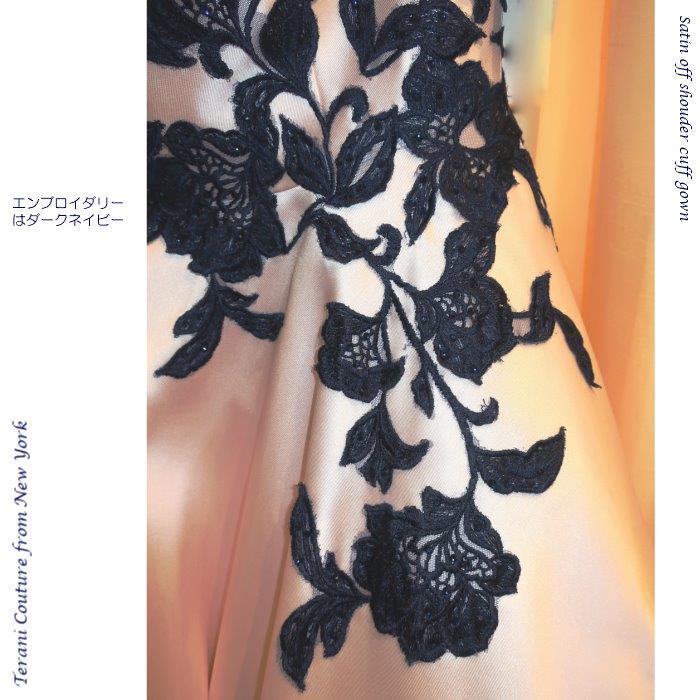 インポートドレス ドレス エンブロイダリーレース  ブラッシュピンク ダークネイビー  Aライン オフショルダー ニューヨーク  TERANI TERANICOUTURE ラインストーン ラグジュアリードレス 演奏会ドレス ピアノ演奏 ステージドレス 発表会ドレス