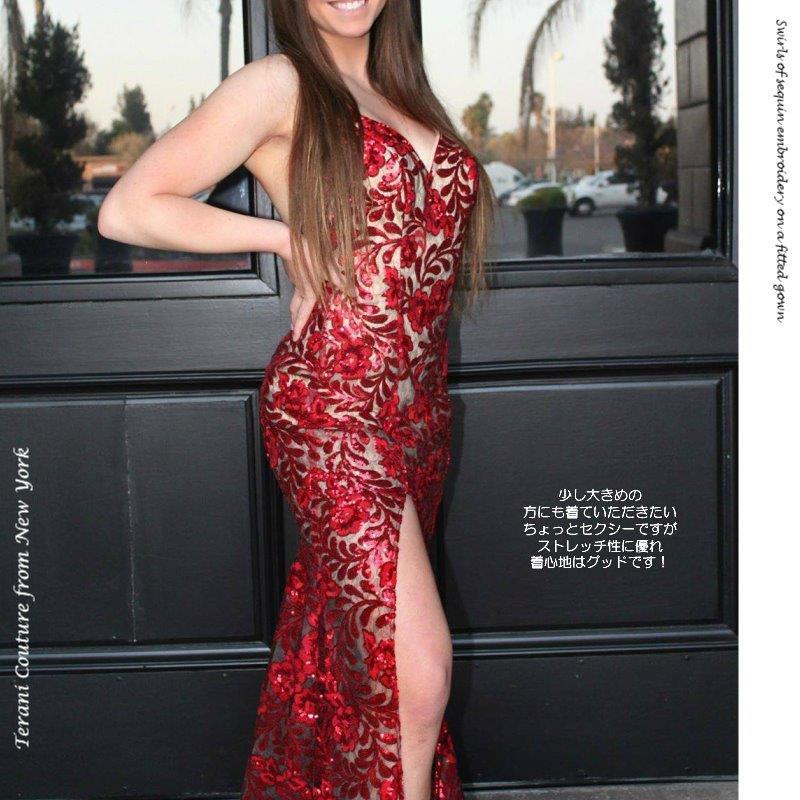 インポートドレス ドレス演奏会 ドレス ピアノ演奏 ステージドレス 発表会ドレス TERANI スパンコール エンブロイダリー レッド 赤 スリップドレス ニューヨーク マーメイドドレス ラグジュアリードレス