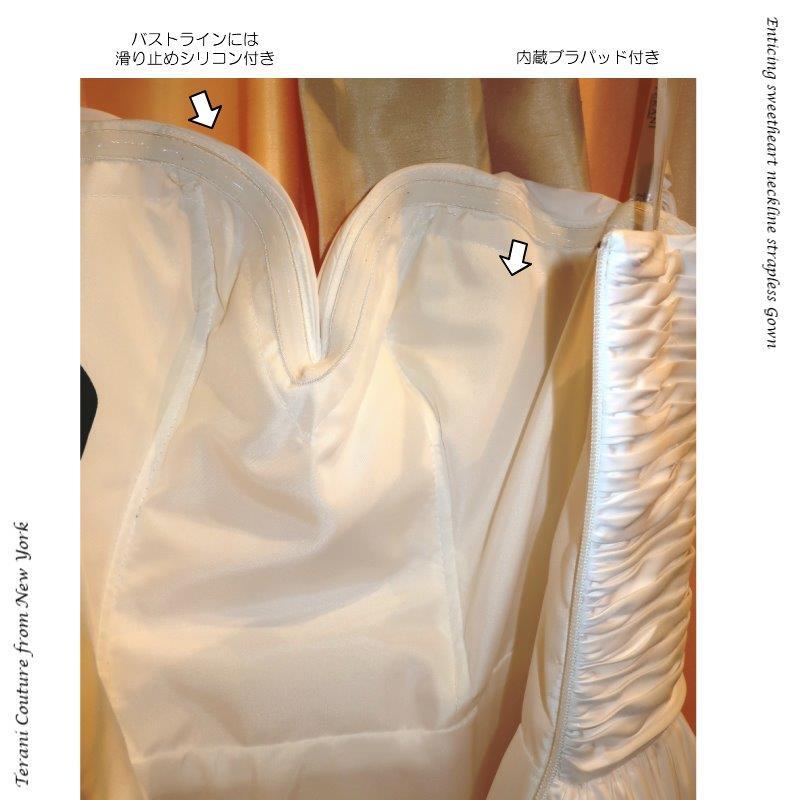 インポートドレス ドレス 一点物 ポリエステルツィル  ホワイト シルバー プリント  Aライン ベアトップ ニューヨーク  TERANI TERANICOUTURE  ラグジュアリードレス 演奏会ドレス ピアノ演奏 ステージドレス 発表会ドレス