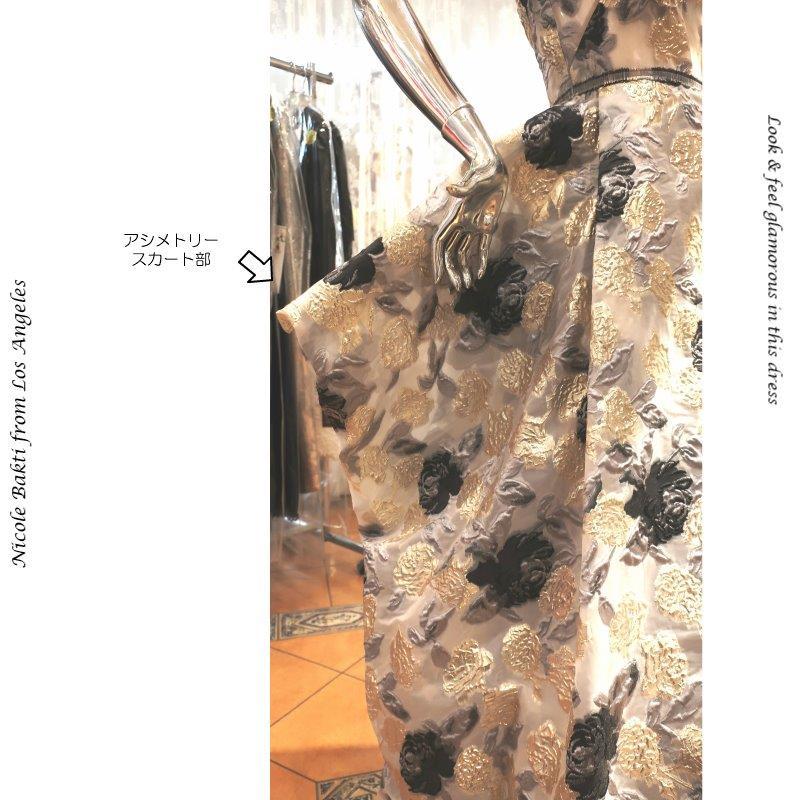 インポートドレス ポリミカド シャンソン ジャズ 声楽 ピアノ ブラッシュ ピンク  Aライン アシメトリーベアトップ 演奏会ドレス アメリカ製 レーススカート  ミセス イブニングドレス ステージドレス 楽器演奏