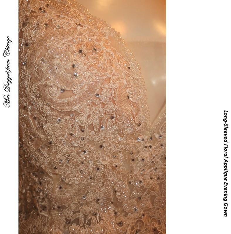 インポートドレス 声楽 ピアノ Vネック ラグジュアリードレス 刺繍 ビジュ 演奏会用ドレス エンブロイダリーレース シャンペン色 発表会ドレス Aライン オペラ ステージドレス パーティドレス 楽器演奏